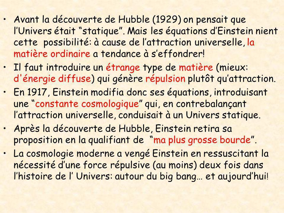 """•Avant la découverte de Hubble (1929) on pensait que l'Univers était """"statique"""". Mais les équations d'Einstein nient cette possibilité: à cause de l'a"""
