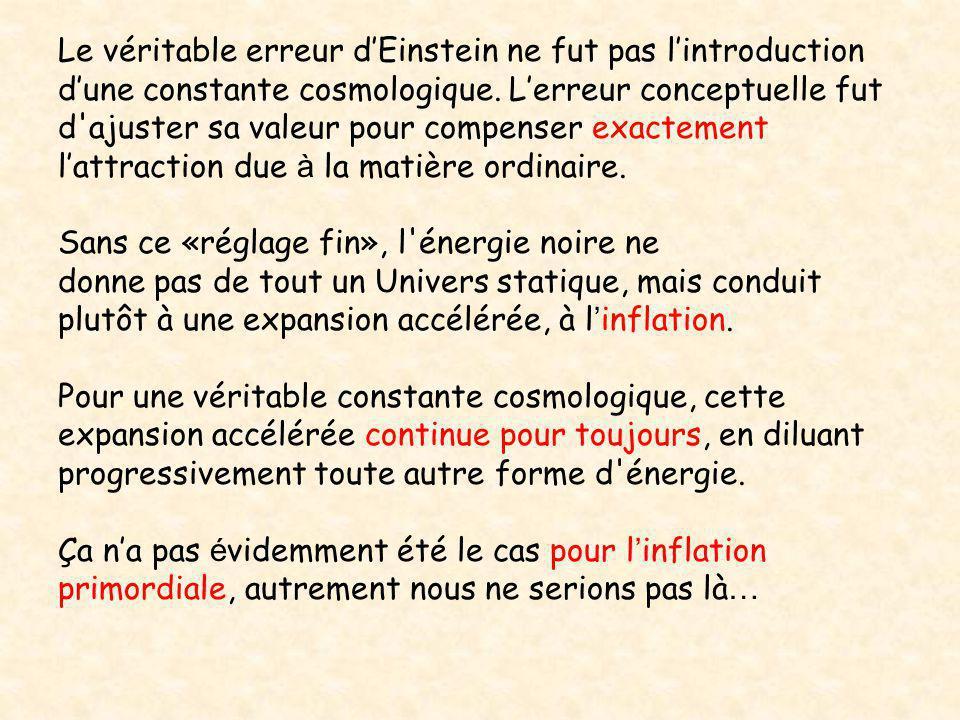 Le véritable erreur d'Einstein ne fut pas l'introduction d'une constante cosmologique. L'erreur conceptuelle fut d'ajuster sa valeur pour compenser ex