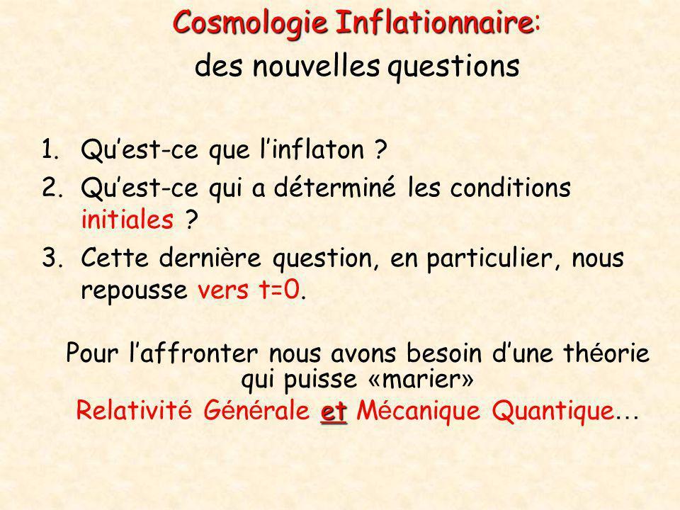 Cosmologie Inflationnaire Cosmologie Inflationnaire: des nouvelles questions 1.Qu'est-ce que l'inflaton ? 2.Qu'est-ce qui a déterminé les conditions i