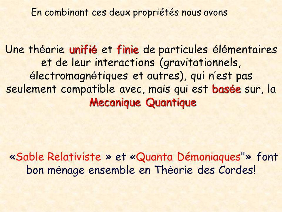 unifi é finie bas é e MecaniqueQuantique Une th é orie unifi é et finie de particules é l é mentaires et de leur interactions (gravitationnels, é lect