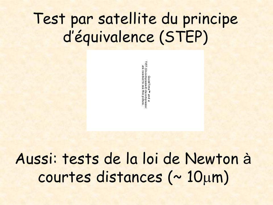 Test par satellite du principe d'équivalence (STEP) Aussi: tests de la loi de Newton à courtes distances (~ 10  m)