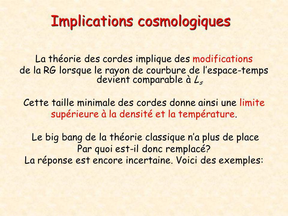Implications cosmologiques La théorie des cordes implique des modifications de la RG lorsque le rayon de courbure de l'espace-temps devient comparable