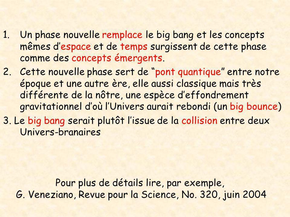 1.Un phase nouvelle remplace le big bang et les concepts mêmes d'espace et de temps surgissent de cette phase comme des concepts émergents. 2.Cette no