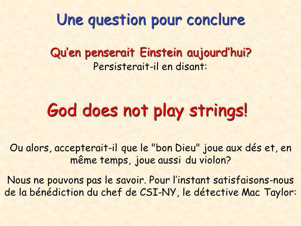 Une question pour conclure Qu'en penserait Einstein aujourd'hui? Persisterait-il en disant: God does not play strings! Ou alors, accepterait-il que le