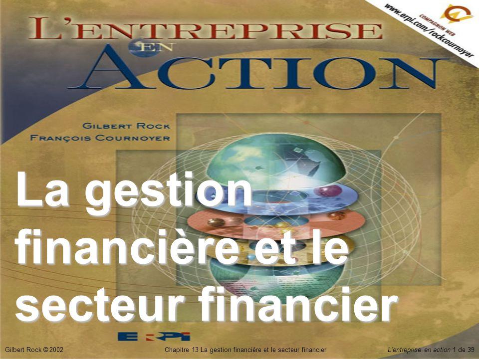 Gilbert Rock © 2002Chapitre 13 La gestion financière et le secteur financierL'entreprise en action 22 de 39 Marché secondaire  Les investisseurs échangent leurs actions entre eux.