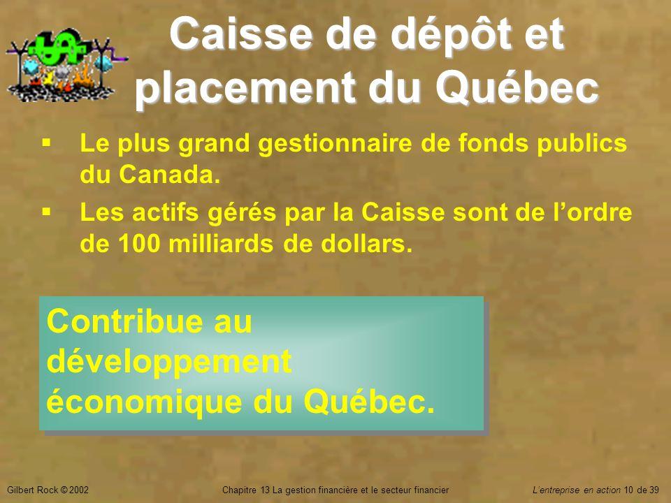 Gilbert Rock © 2002Chapitre 13 La gestion financière et le secteur financierL'entreprise en action 10 de 39 Caisse de dépôt et placement du Québec  Le plus grand gestionnaire de fonds publics du Canada.