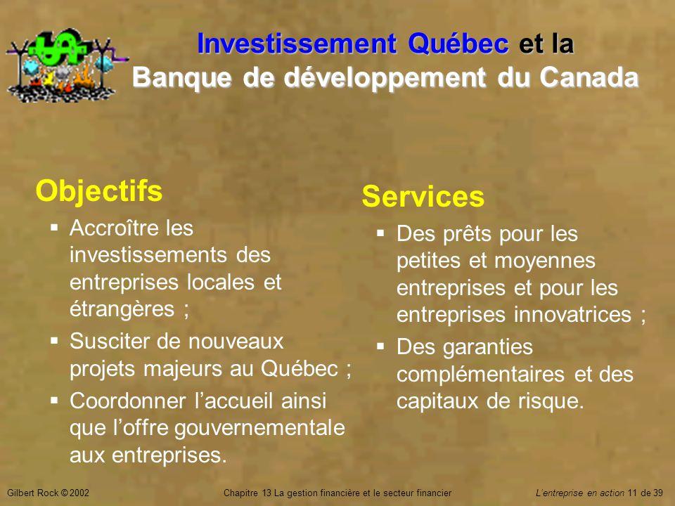 Gilbert Rock © 2002Chapitre 13 La gestion financière et le secteur financierL'entreprise en action 11 de 39 Investissement Québec et la Banque de développement du Canada Objectifs  Accroître les investissements des entreprises locales et étrangères ;  Susciter de nouveaux projets majeurs au Québec ;  Coordonner l'accueil ainsi que l'offre gouvernementale aux entreprises.