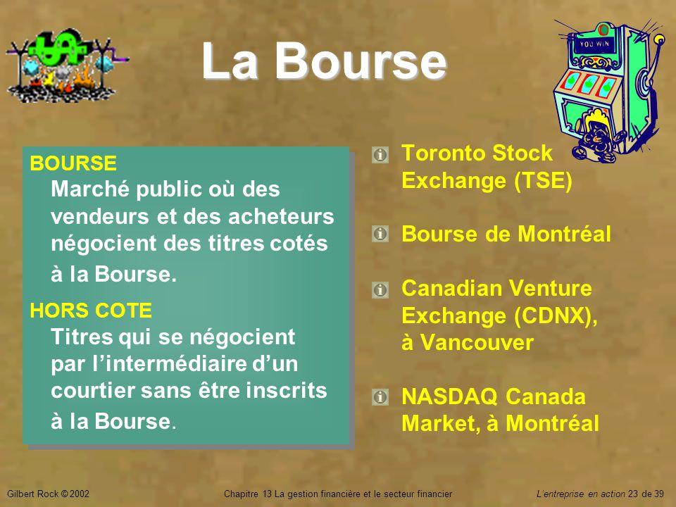 Gilbert Rock © 2002Chapitre 13 La gestion financière et le secteur financierL'entreprise en action 23 de 39 La Bourse BOURSE Marché public où des vendeurs et des acheteurs négocient des titres cotés à la Bourse.