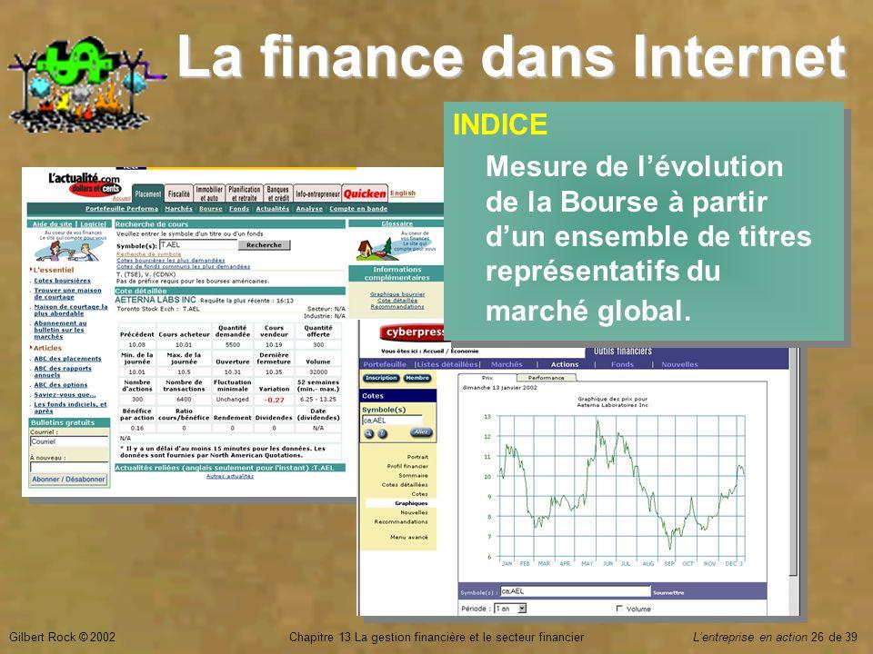 Gilbert Rock © 2002Chapitre 13 La gestion financière et le secteur financierL'entreprise en action 26 de 39 La finance dans Internet INDICE Mesure de l'évolution de la Bourse à partir d'un ensemble de titres représentatifs du marché global.