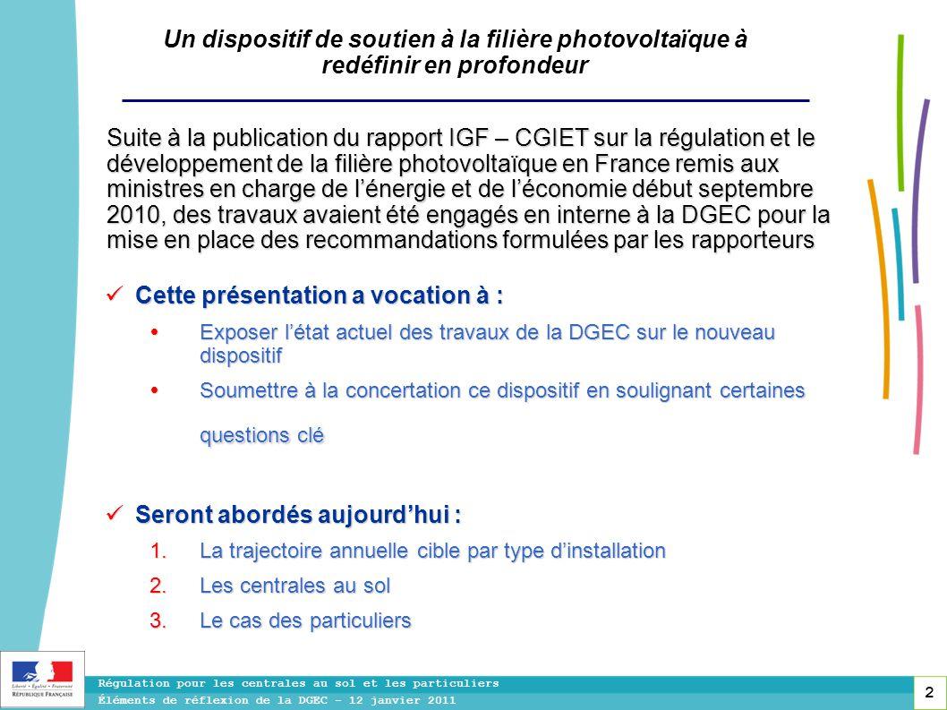 2 Régulation pour les centrales au sol et les particuliers Éléments de réflexion de la DGEC - 12 janvier 2011 Un dispositif de soutien à la filière ph