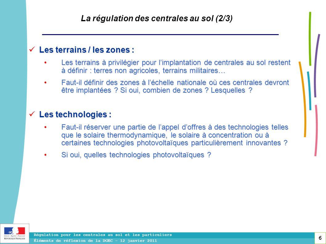 6 Régulation pour les centrales au sol et les particuliers Éléments de réflexion de la DGEC - 12 janvier 2011 La régulation des centrales au sol (2/3)