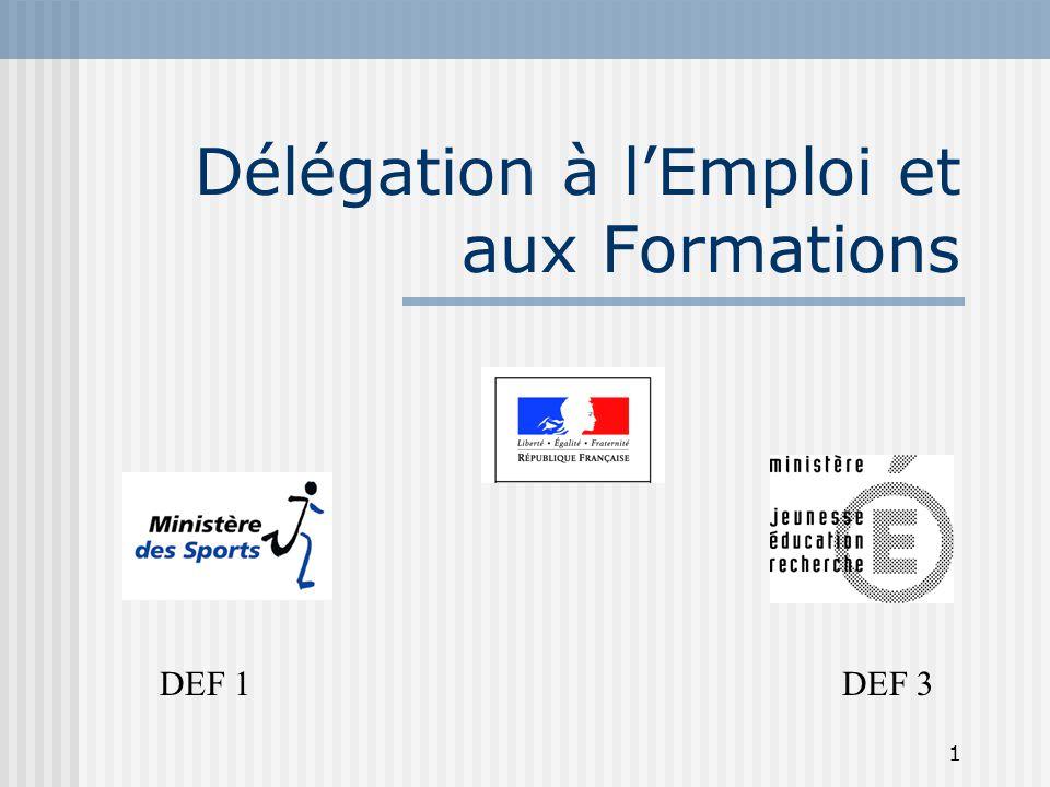 1 Délégation à l'Emploi et aux Formations DEF 1 DEF 3
