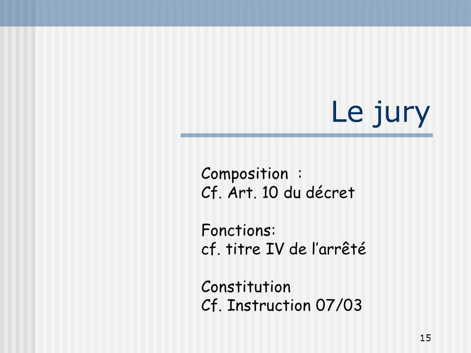 15 Le jury Composition : Cf. Art. 10 du décret Fonctions: cf. titre IV de l'arrêté Constitution Cf. Instruction 07/03