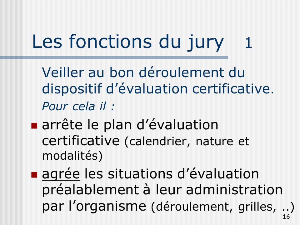 16 Les fonctions du jury 1 Veiller au bon déroulement du dispositif d'évaluation certificative. Pour cela il :  arrête le plan d'évaluation certifica