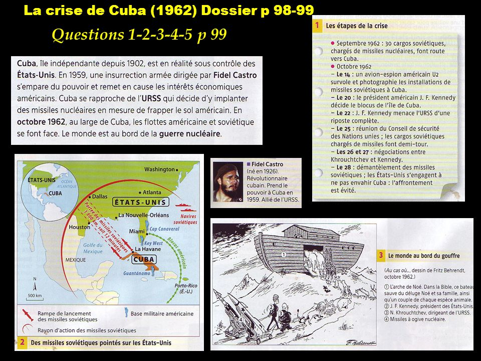 La crise de Cuba (1962) Dossier p 98-99 Questions 1-2-3-4-5 p 99