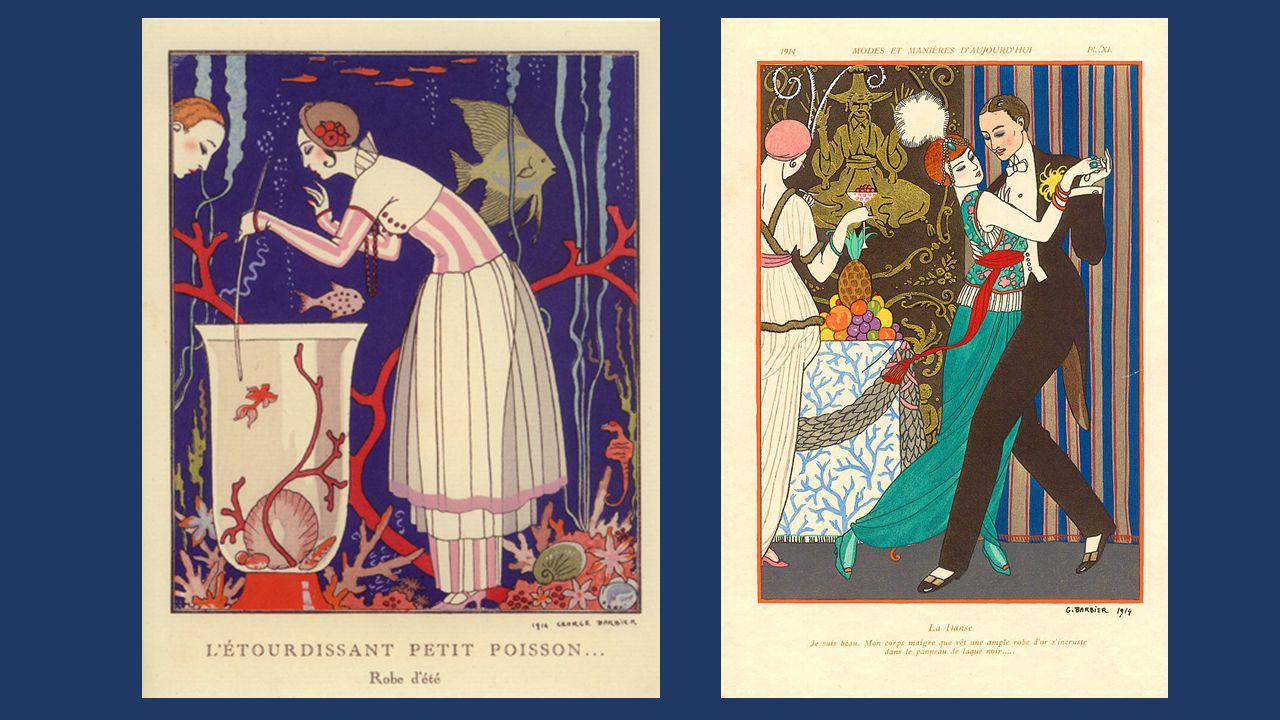 Georges BARBIER né à Nantes en 1882 décédé en 1945 Elève de l'Ecole Nationale des Beaux- Arts de Paris, il expose en 1910 et, contribue aux journaux satiriques (le Rire – la Baïonnette) et pour des revues de mode (Journal des dames et des modes) Il crée des costumes pour le music-hall illustre des catalogues publicitaires et, des livres pour Baudelaire, Verlaine, Alfred de Musset, Théophile Gautier.
