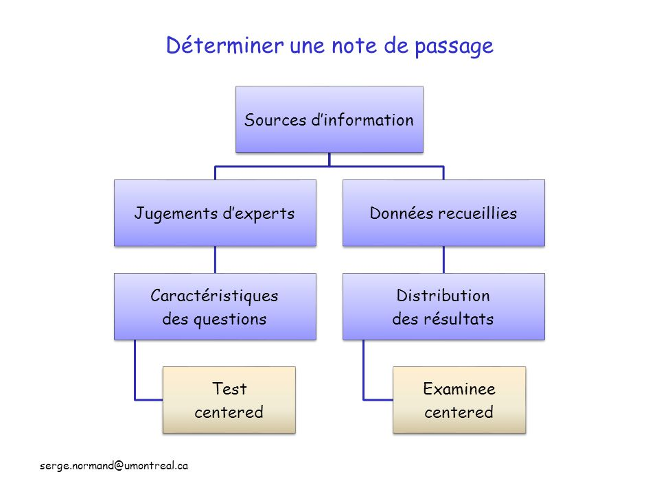 Un enjeux important: déterminer la note de passage ( Setting Performance Standards ) Méthodes •Angoff •Nedelsky •Ebel •Hofstee •Contrasting Group •Borderline Group •Direct Borderline ( 2003 ) •Etc… Candidat à la LIMITE « borderline » Candidat à la LIMITE « borderline »
