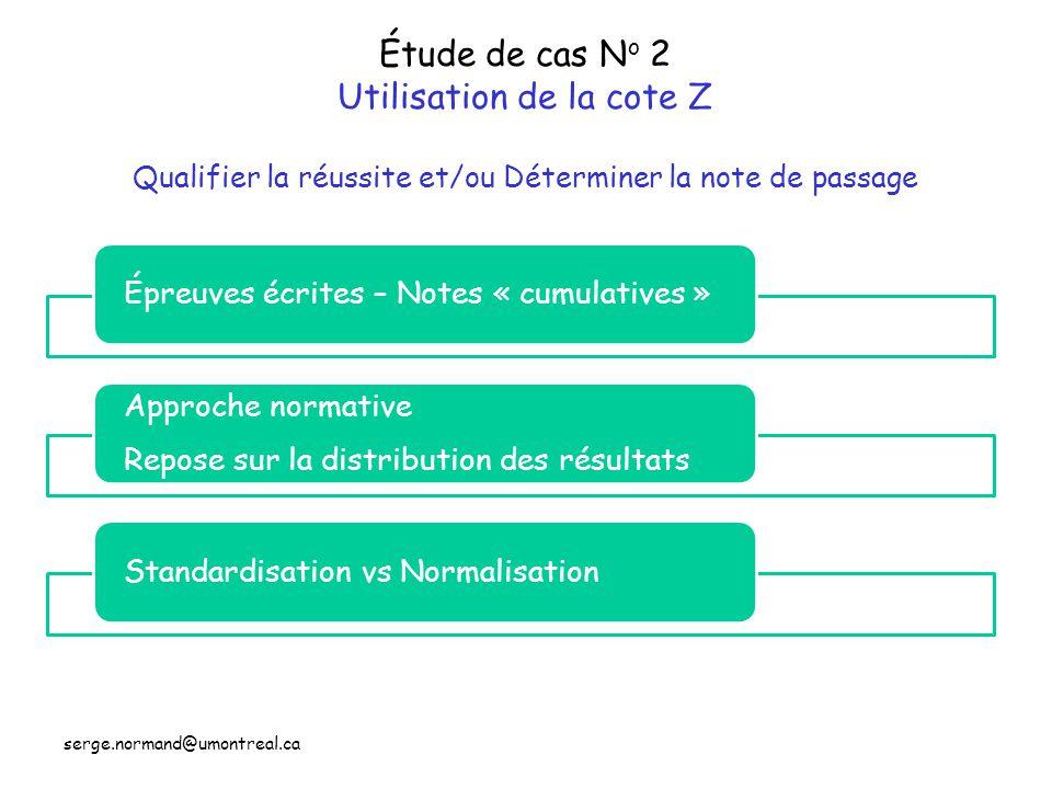 Étude de cas N o 2 Utilisation de la cote Z Qualifier la réussite et/ou Déterminer la note de passage Épreuves écrites – Notes « cumulatives » Approch
