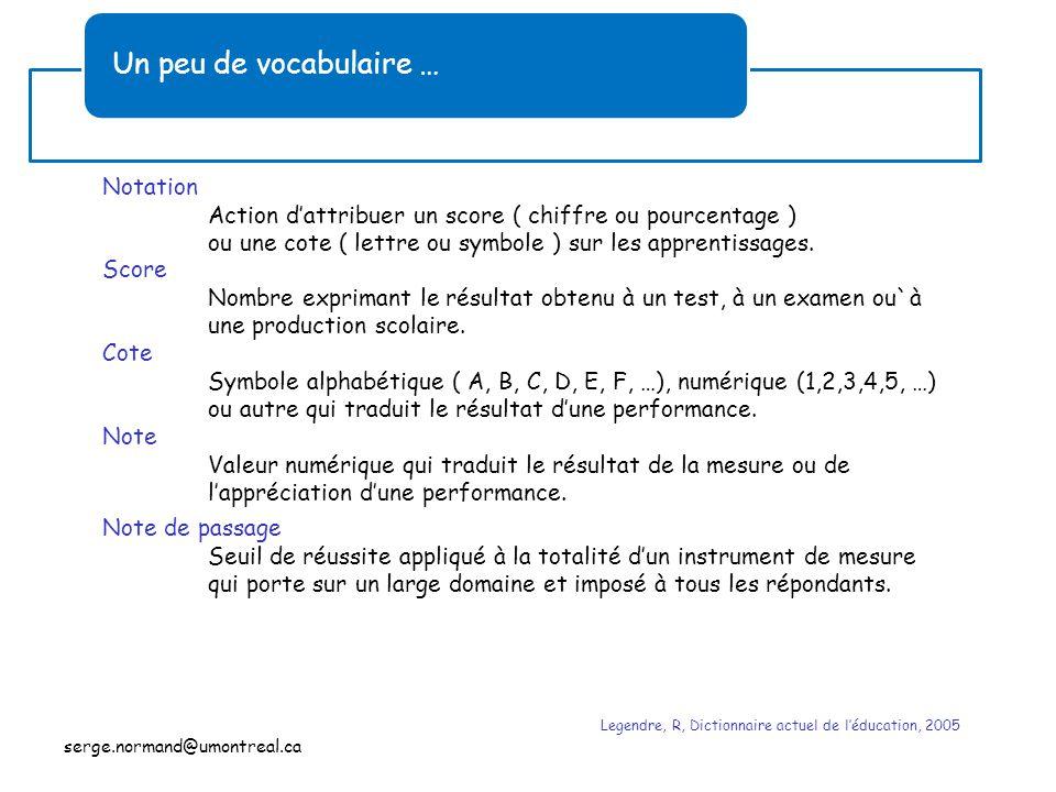 Un peu de vocabulaire … Notation Action d'attribuer un score ( chiffre ou pourcentage ) ou une cote ( lettre ou symbole ) sur les apprentissages. Note