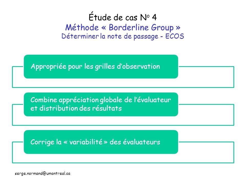 Étude de cas N o 4 Méthode « Borderline Group » Déterminer la note de passage - ECOS Appropriée pour les grilles d'observation Combine appréciation gl