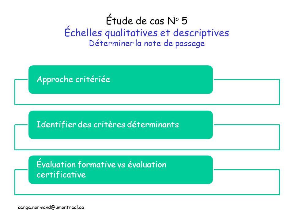 Étude de cas N o 5 Échelles qualitatives et descriptives Déterminer la note de passage Approche critériéeIdentifier des critères déterminants Évaluati