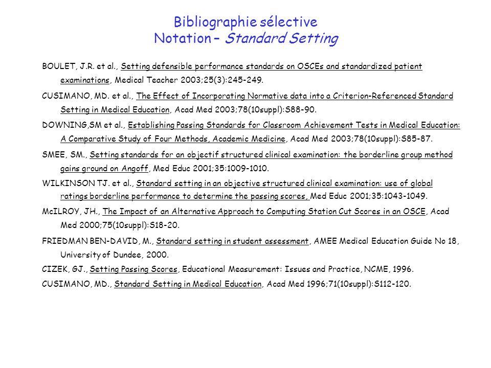 Bibliographie sélective Notation – Standard Setting BOULET, J.R. et al., Setting defensible performance standards on OSCEs and standardized patient ex