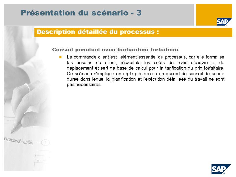 Présentation du scénario - 3 Conseil ponctuel avec facturation forfaitaire  La commande client est l'élément essentiel du processus, car elle formali