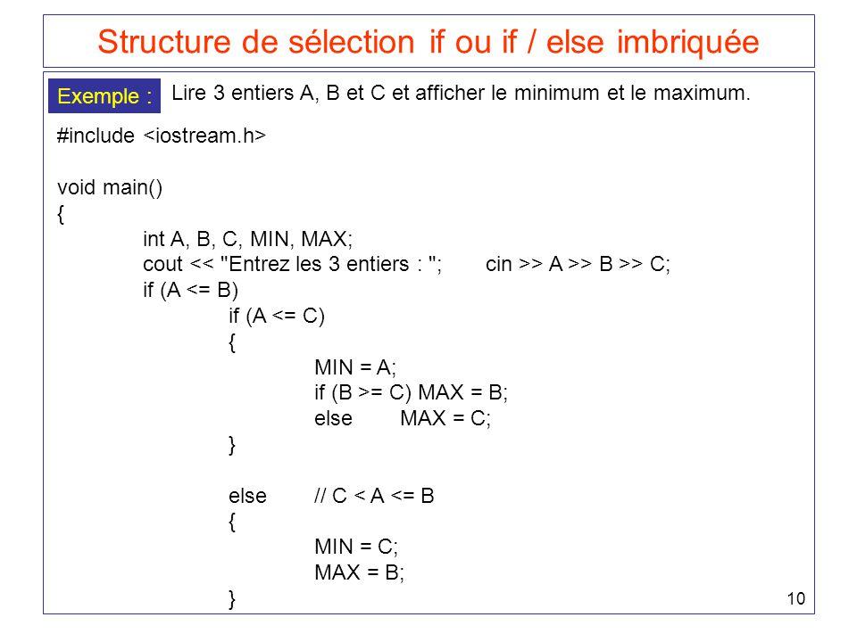 10 Structure de sélection if ou if / else imbriquée Exemple : Lire 3 entiers A, B et C et afficher le minimum et le maximum. #include void main() { in