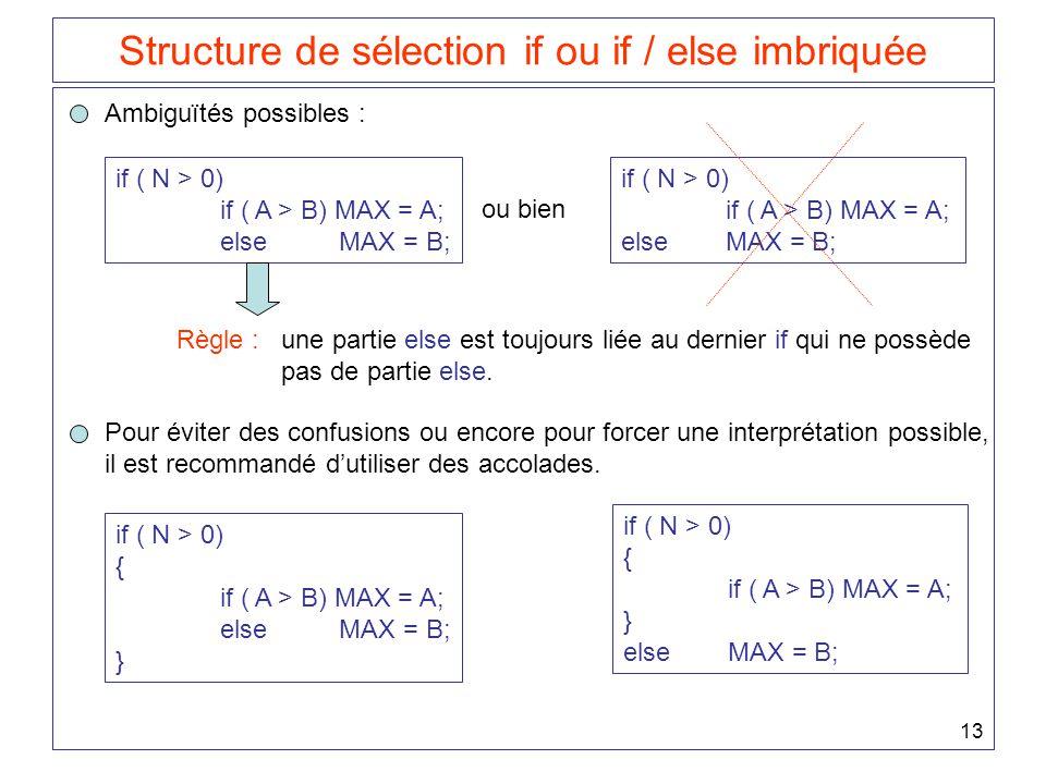 13 Structure de sélection if ou if / else imbriquée Ambiguïtés possibles : if ( N > 0) if ( A > B) MAX = A; else MAX = B; ou bien if ( N > 0) if ( A >