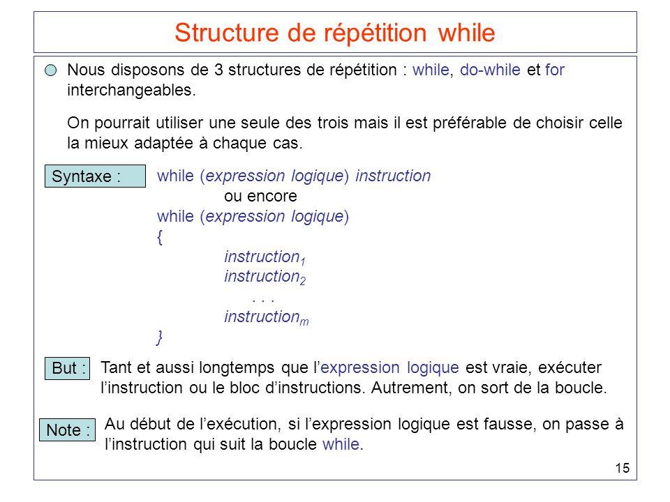 15 Structure de répétition while Nous disposons de 3 structures de répétition : while, do-while et for interchangeables. Syntaxe : while (expression l