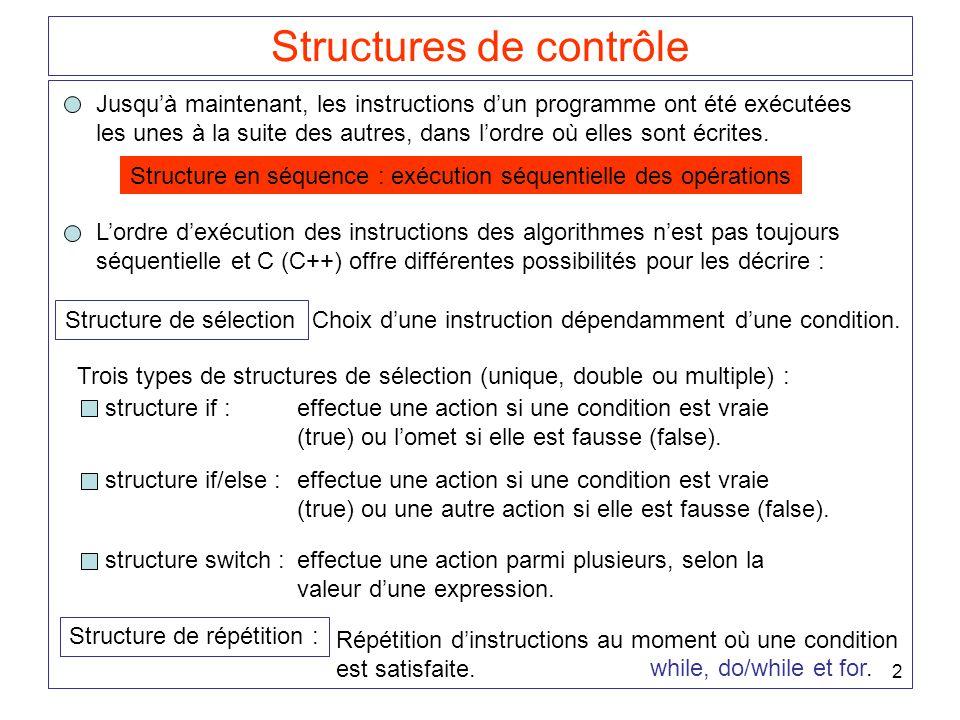 13 Structure de sélection if ou if / else imbriquée Ambiguïtés possibles : if ( N > 0) if ( A > B) MAX = A; else MAX = B; ou bien if ( N > 0) if ( A > B) MAX = A; else MAX = B; Règle : une partie else est toujours liée au dernier if qui ne possède pas de partie else.
