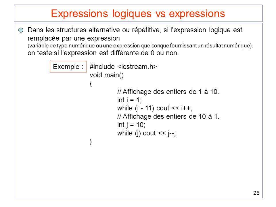 25 Expressions logiques vs expressions Dans les structures alternative ou répétitive, si l'expression logique est remplacée par une expression (variable de type numérique ou une expression quelconque fournissant un résultat numérique), on teste si l'expression est différente de 0 ou non.