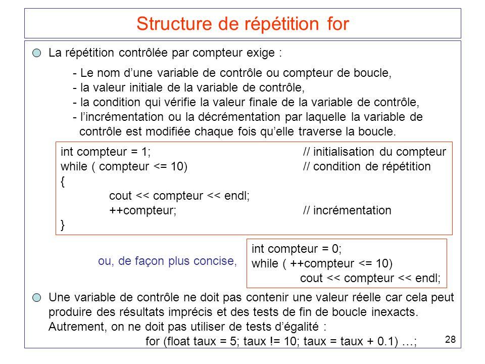 28 Structure de répétition for La répétition contrôlée par compteur exige : - Le nom d'une variable de contrôle ou compteur de boucle, - la valeur initiale de la variable de contrôle, - la condition qui vérifie la valeur finale de la variable de contrôle, - l'incrémentation ou la décrémentation par laquelle la variable de contrôle est modifiée chaque fois qu'elle traverse la boucle.