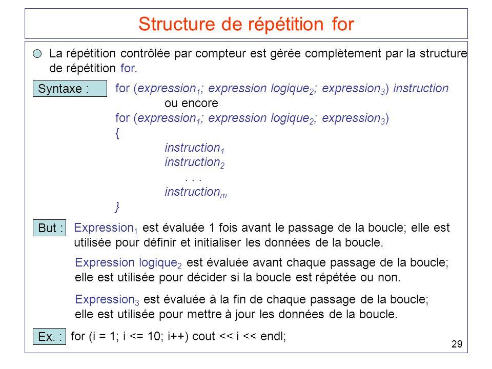 29 Structure de répétition for La répétition contrôlée par compteur est gérée complètement par la structure de répétition for. Syntaxe : for (expressi