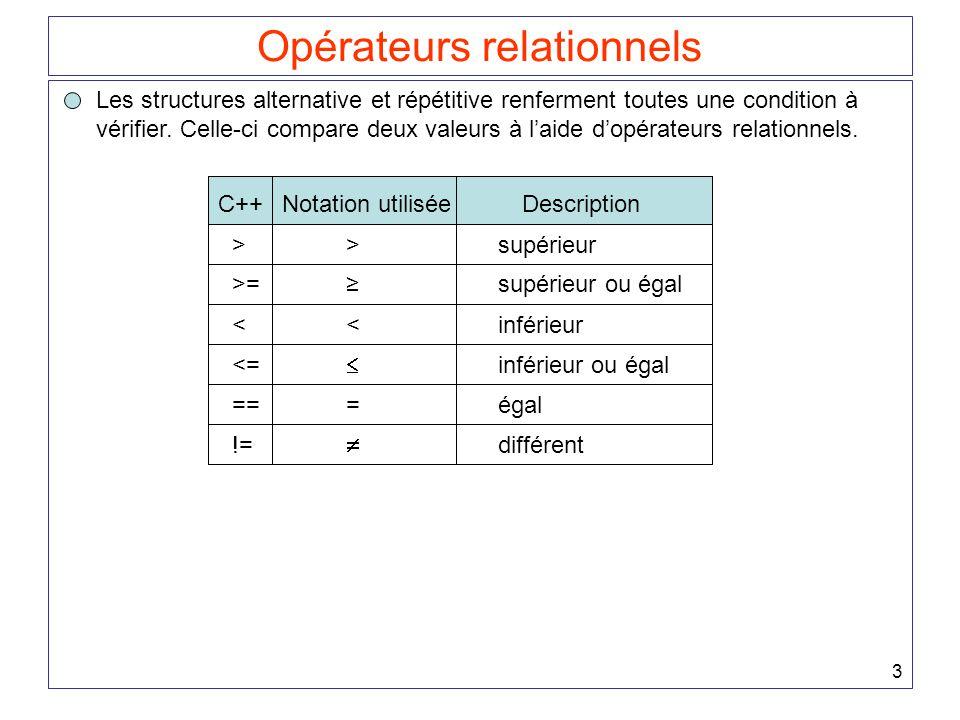 3 Opérateurs relationnels Les structures alternative et répétitive renferment toutes une condition à vérifier. Celle-ci compare deux valeurs à l'aide