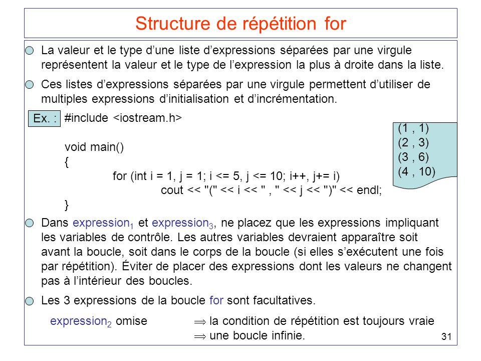 31 Structure de répétition for La valeur et le type d'une liste d'expressions séparées par une virgule représentent la valeur et le type de l'expression la plus à droite dans la liste.