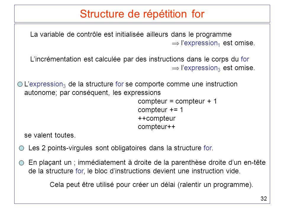 32 Structure de répétition for La variable de contrôle est initialisée ailleurs dans le programme  l'expression 1 est omise. L'incrémentation est cal