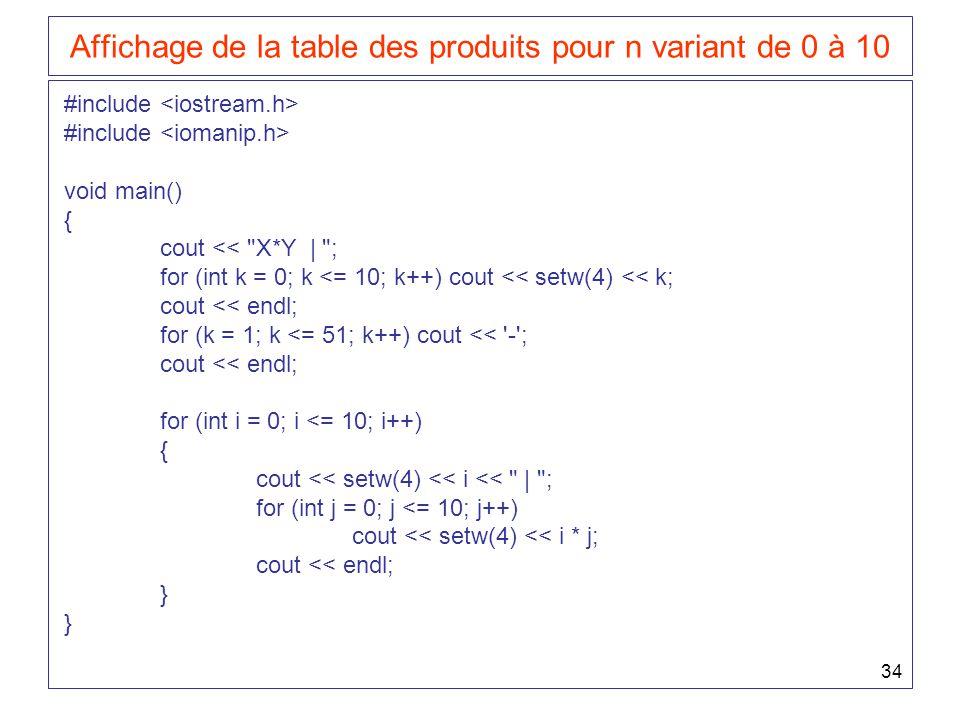 34 Affichage de la table des produits pour n variant de 0 à 10 #include void main() { cout <<