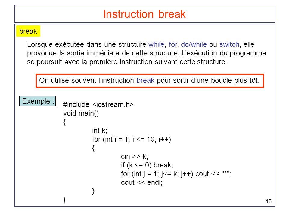 45 Instruction break break Lorsque exécutée dans une structure while, for, do/while ou switch, elle provoque la sortie immédiate de cette structure. L