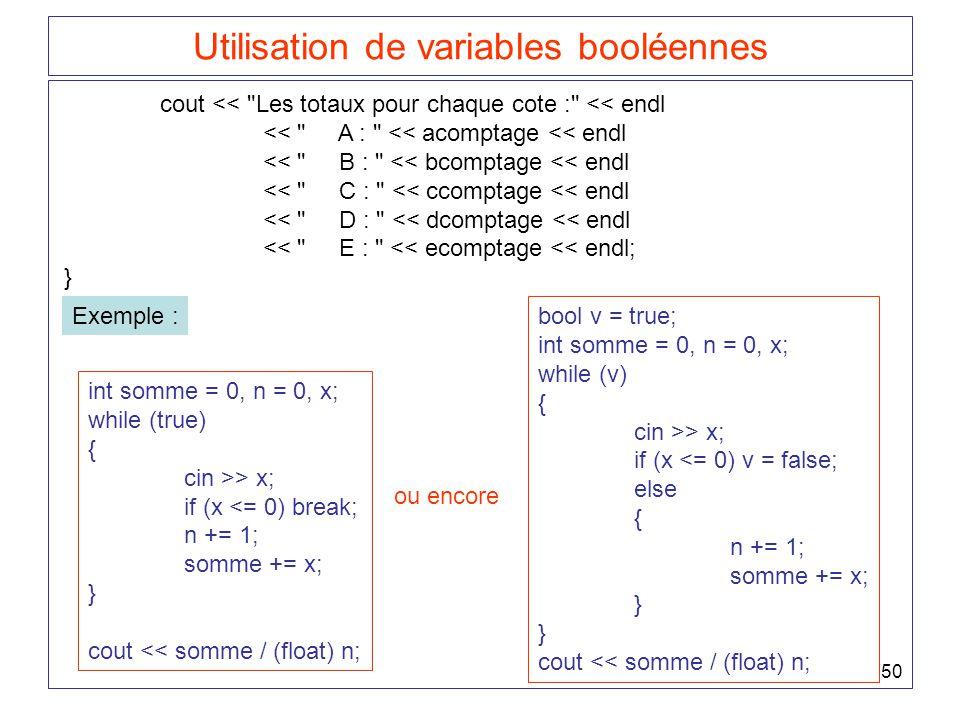 50 Utilisation de variables booléennes cout <<