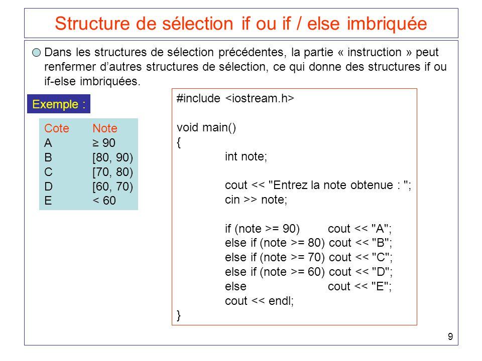 50 Utilisation de variables booléennes cout << Les totaux pour chaque cote : << endl << A : << acomptage << endl << B : << bcomptage << endl << C : << ccomptage << endl << D : << dcomptage << endl << E : << ecomptage << endl; } Exemple : int somme = 0, n = 0, x; while (true) { cin >> x; if (x <= 0) break; n += 1; somme += x; } cout << somme / (float) n; bool v = true; int somme = 0, n = 0, x; while (v) { cin >> x; if (x <= 0) v = false; else { n += 1; somme += x; } cout << somme / (float) n; ou encore