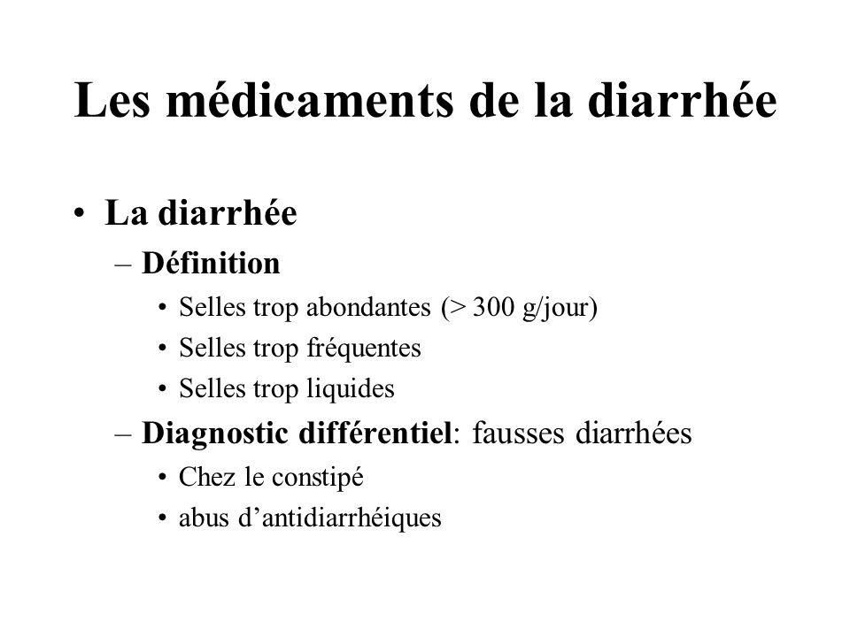 Les médicaments de la diarrhée •La diarrhée –Définition •Selles trop abondantes (> 300 g/jour) •Selles trop fréquentes •Selles trop liquides –Diagnostic différentiel: fausses diarrhées •Chez le constipé •abus d'antidiarrhéiques