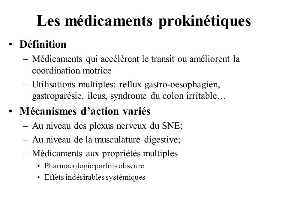 Les médicaments prokinétiques •Définition –Médicaments qui accélèrent le transit ou améliorent la coordination motrice –Utilisations multiples: reflux gastro-oesophagien, gastroparésie, ileus, syndrome du colon irritable… •Mécanismes d'action variés –Au niveau des plexus nerveux du SNE; –Au niveau de la musculature digestive; –Médicaments aux propriétés multiples •Pharmacologie parfois obscure •Effets indésirables systémiques