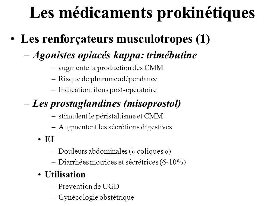 Les médicaments prokinétiques •Les renforçateurs musculotropes (1) –Agonistes opiacés kappa: trimébutine –augmente la production des CMM –Risque de pharmacodépendance –Indication: ileus post-opératoire –Les prostaglandines (misoprostol) –stimulent le péristaltisme et CMM –Augmentent les sécrétions digestives •EI –Douleurs abdominales (« coliques ») –Diarrhées motrices et sécrétrices (6-10%) •Utilisation –Prévention de UGD –Gynécologie obstétrique