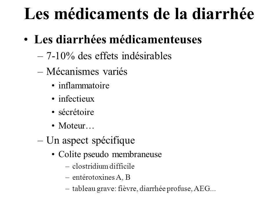 Les médicaments de la diarrhée •Les diarrhées médicamenteuses –7-10% des effets indésirables –Mécanismes variés •inflammatoire •infectieux •sécrétoire •Moteur… –Un aspect spécifique •Colite pseudo membraneuse –clostridium difficile –entérotoxines A, B –tableau grave: fièvre, diarrhée profuse, AEG...