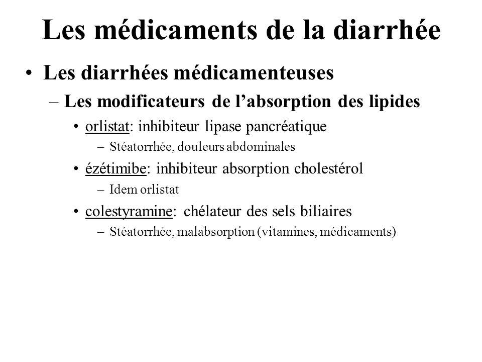 Les médicaments de la diarrhée •Les diarrhées médicamenteuses –Les modificateurs de l'absorption des lipides •orlistat: inhibiteur lipase pancréatique –Stéatorrhée, douleurs abdominales •ézétimibe: inhibiteur absorption cholestérol –Idem orlistat •colestyramine: chélateur des sels biliaires –Stéatorrhée, malabsorption (vitamines, médicaments)