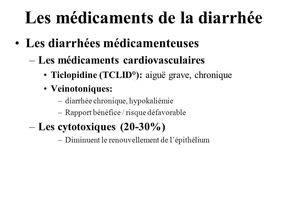 Les médicaments de la diarrhée •Les diarrhées médicamenteuses –Les médicaments cardiovasculaires •Ticlopidine (TCLID°): aiguë grave, chronique •Veinotoniques: –diarrhée chronique, hypokaliémie –Rapport bénéfice / risque défavorable –Les cytotoxiques (20-30%) –Diminuent le renouvellement de l'épithélium