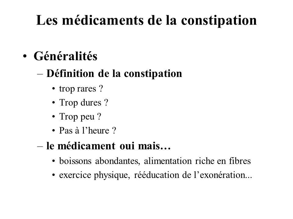 Les médicaments de la constipation •Généralités –Définition de la constipation •trop rares .