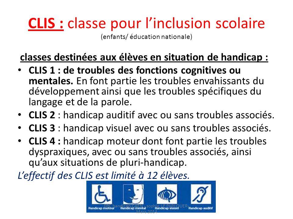 CLIS : classe pour l'inclusion scolaire (enfants/ éducation nationale) classes destinées aux élèves en situation de handicap : • CLIS 1 : de troubles