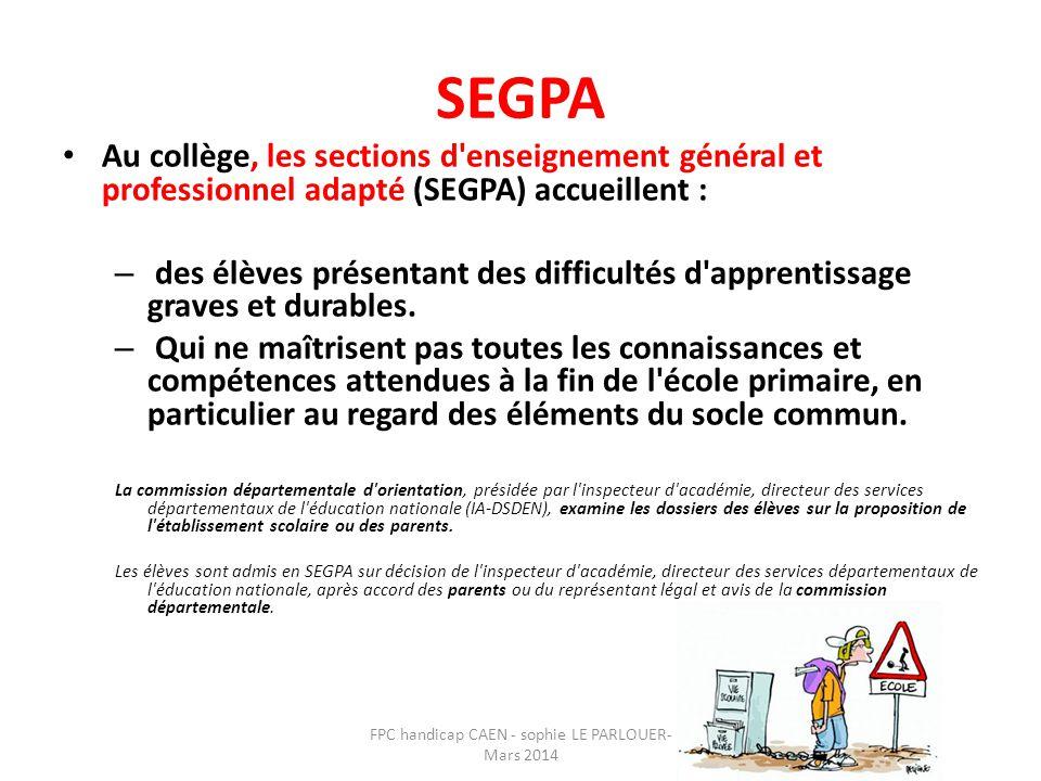 SEGPA • Au collège, les sections d'enseignement général et professionnel adapté (SEGPA) accueillent : – des élèves présentant des difficultés d'appren